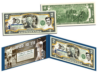 Babe Ruth Commemorative Colorized $2 Bill