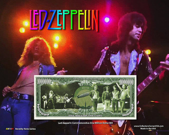 """Led Zeppelin"" Novelty Million Dollar Bill Reverse Display on an 8"" x 10"" Display Card"