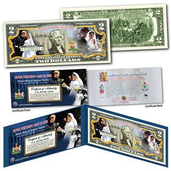 Prince Harry & Meghan Markle Royal Wedding Official Portraits Commemorative $2 Bill