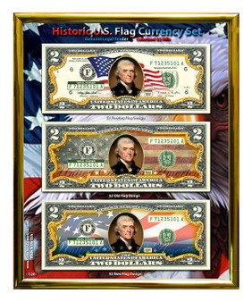 """U.S. Flowing Flag Colorized $2 Bill Currency Set in 8"""" x 10"""" Frame"""