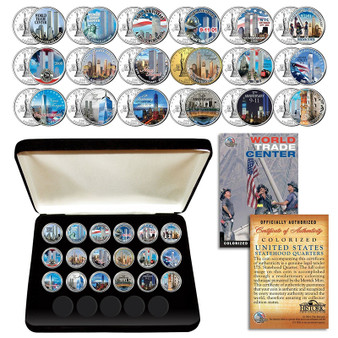 WTC 9/11 Anniversary 2002-2019 State Quarter 18 Coin Set in Display Case
