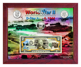 """World War II D-Day Colorized Coin & Currency Set in 8"""" x 10"""" Frame"""