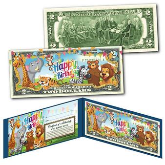Happy Birthday - Zoo Animals Colorized $2 Bill