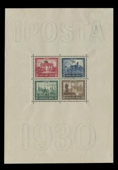 """1930 #446-449 Block 1 """"Iposta"""" International Stamp Exhibition MLH"""