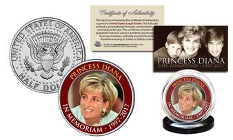 """Princess Diana In Memoriam """"Red Rim"""" 1997-2017 20th Anniversary JFK Half Dollar"""
