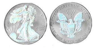 Silver Hologram Both Sides 2001 or 2003 1 Oz. Silver Eagle in Case