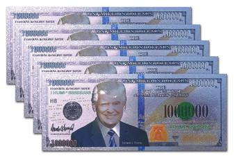 Set of 5 President Trump Silver Foil $1 Million Novelty Bills