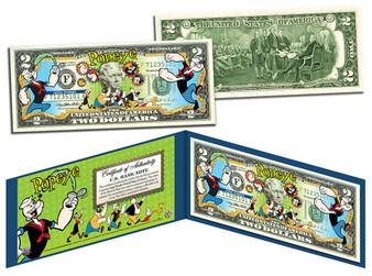 Popeye Commemorative Colorized $2 Bill