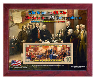 """Signing Of The Declaration of Independence Colorized $10 Bill Currency Set in 8"""" x 10"""" Frame"""