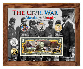 """The Civil War Abraham Lincoln Colorized Coin & Currency Set in 8"""" x 10"""" Frame"""
