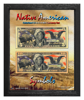"""Native American Symbols Colorized $5 & $10 Bill Currency Set in 8"""" x 10"""" Frame"""