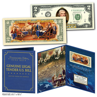 """Declaration of Independence Colorized 2 Sided $2 Bill in 8"""" x 10"""" Collector's Display"""