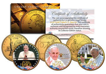 Pope Francis Visits the USA Colorized & 24K Gold Plated State Quarter 3 Coin Set