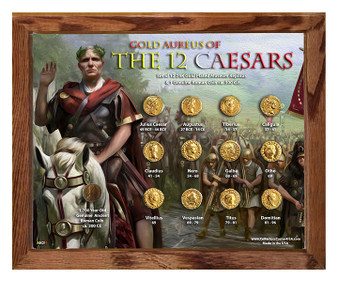 """Gold Aureus of the 12 Caesars """"Army"""" 24K Gold Plated Historical Replica Set in 8"""" x 10"""" Frame - H"""