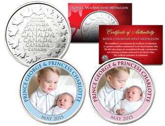Prince George and Princess Charlotte Colorized Canadian RCM 2 Medallion Set