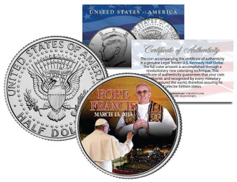 Pope Francis I Commemorative Colorized JFK Half Dollar