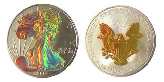 Gold Hologram Both Sides 2001 1 Oz. Silver Eagle in Case