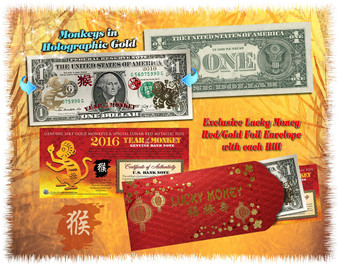 2016 Year Of The Monkey Lucky 24K Gold $1 Bill