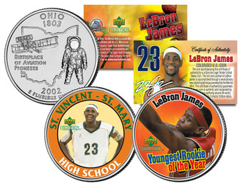 Lebron James High School & Youngest Rookie 2 Coin Set