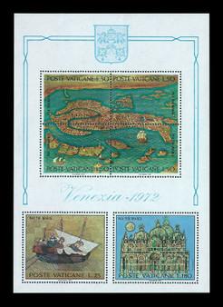 Vatican City 1972 Map Of Venice #520 Souvenir Sheet MNH