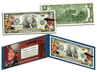 John Wayne The Duke Commemorative Colorized $2 Bill
