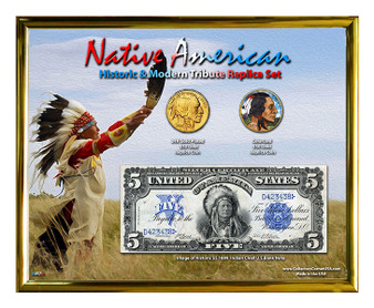 """Native American Indian Chief 24K Gold Plated & Colorized Buffalo $50 Coin Replica Setin 8"""" x 10"""" Frame"""