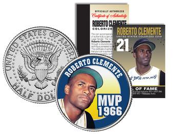 Roberto Clemente 1972 MVP Colorized JFK Half Dollar