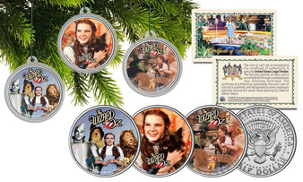 Wizard Of Oz 3 Coin Set of Colorized JFK Half Dollar Christmas Ornaments