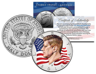 2018 Waving Flag Colorized JFK Half Dollar Select From P-Mint or D-Mint