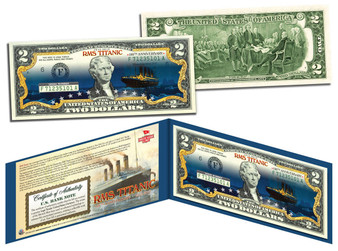 "Titanic 100th Anniversary ""Night Time Iceberg"" Colorized $2 Bill"