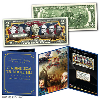 "American Civil War Famous Confederate Generals Commemorative Colorized $2 Bill in 8"" x 10"" Collector's Display"