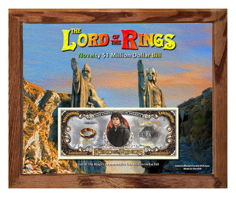 The Lord Of The Rings $1 Million Dollar Novelty Bill in 8' x 10' Frame Argonath - Obverse