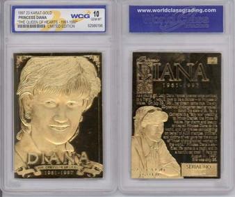 Princess Diana 1997 The Queen Of Hearts 23K Gold Sculptured Card Graded Gem Mint 10