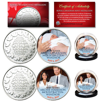 Baby Archie Sussex May 6th 2019 Prince Harry & Markle Royal Canadian Mint Medallion 2 Coin Set