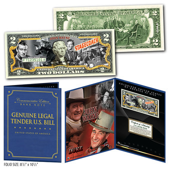 """John Wayne 1939 Stagecoach Film Commemorative Colorized $2 Bill in 8"""" x 10"""" Collector's Display"""