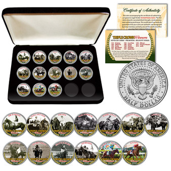 Triple Crown Winners Thoroughbred Horse Racing JFK Half Dollar 13 Coin Set With Case