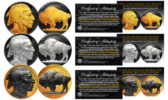 1930's Black Ruthenium Original Indian Head Buffalo Nickel With Full Dates Set of All 3 Versions