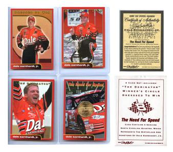 Dale Earnhardt Jr. 4 Card Set With NC Gold State Quarter