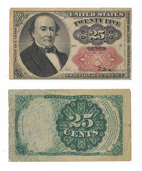 Post Civil War Fractional Currency 1874 25 Cent Note - B