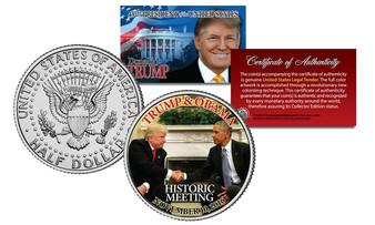 Donald Trump & Barack Obama Meeting at White House Colorized JFK Half Dollar