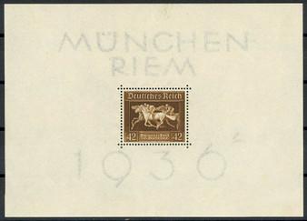 "1936 #621 Block 4 Munchen Riem ""The Brown Ribbon"" MH"