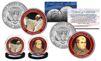 Pope Francis Canonization Colorized JFK Half Dollar 2 Coin Set
