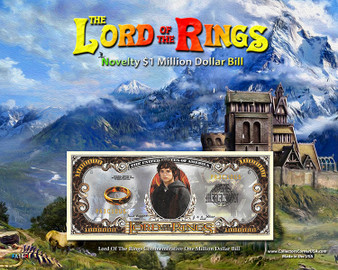 """The Lord Of The Rings Novelty Million Dollar Bill Obverse Display - Edoras on an 8"""" x 10"""" Display Card"""