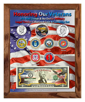 "Honoring Our Veterans Colorized Coin & Currency Set in 8"" x 10"" Frame"
