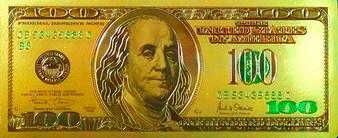 24K Gold Foil Embossed $100 Bill 1-Sided Note