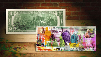 Rency Art Planet Of The Apes Colorized $2 Bill Hand Signed Limited Edition of 217