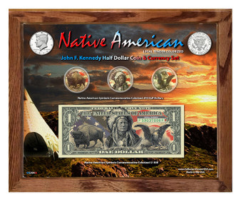 """Native American Symbols Set 1A Colorized JFK Coin & $1 Bill Currency Set in 8"""" x 10"""" Frame"""