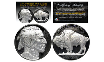 1930's Black Ruthenium Original Indian Head Buffalo Nickel With Genuine Silver Highlights and Full Dates