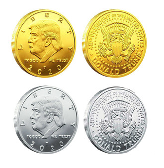 President Trump 2 Coin Set 24K Gold & Silver Plated Tribute Coins in Air-Tites and Coin Stands