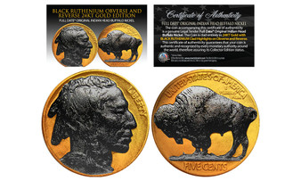1930's 24K Gold Clad Original Indian Head Buffalo Nickel With Black Ruthenium Highlights and Full Dates